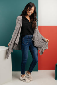The Avalynn Heathered Cardigan in Smoky Coal