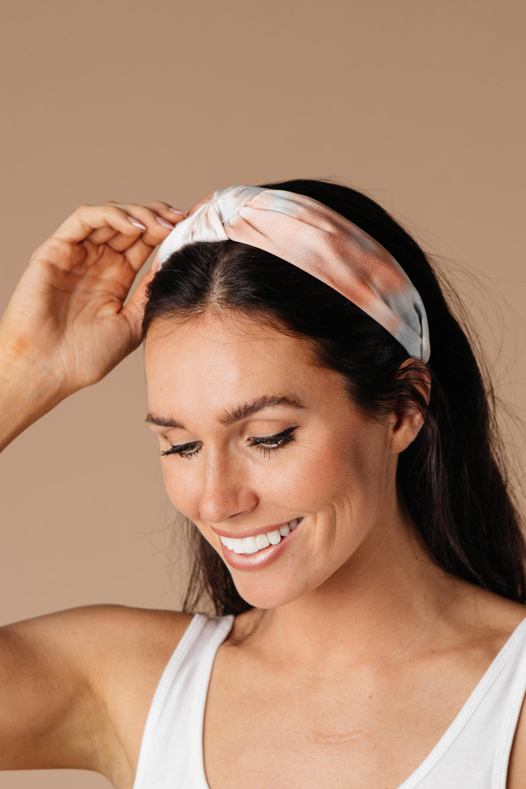 Tie Dye The Knot Headband In Peach
