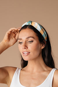 Tie Dye The Knot Headband In Teal & Orange