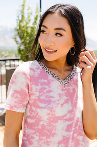 Tessa Tie Dye Top In Pink
