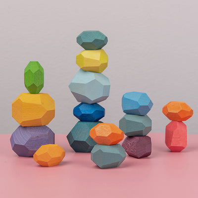 Wooden Stone Stacking Game