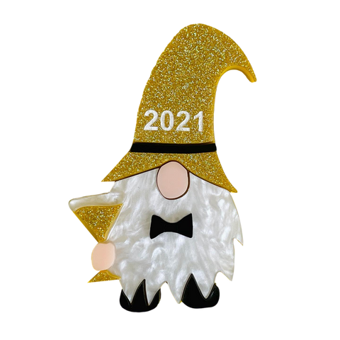 The New Years 2021 gnome  - Brooch