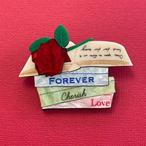 Forever Cherish Love Book Stack - Brooch