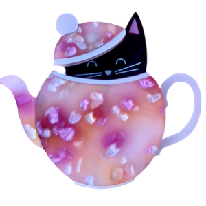 Pink Tea pot- Brooch