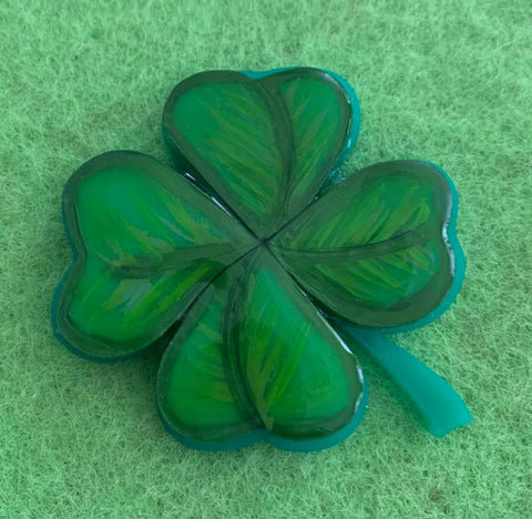 4 Leaf Clover - Brooch hand painted and set in resin.