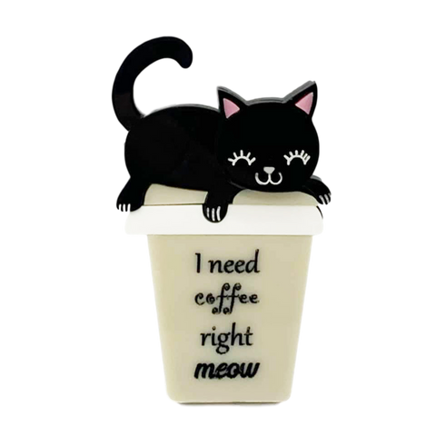 Coffee Time - Black Kitty - Brooch