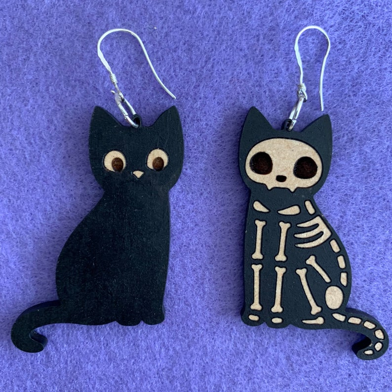 Skeleton cat earrings Halloween