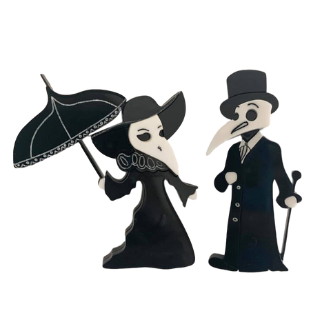 Plague Doctor Couple - Brooches