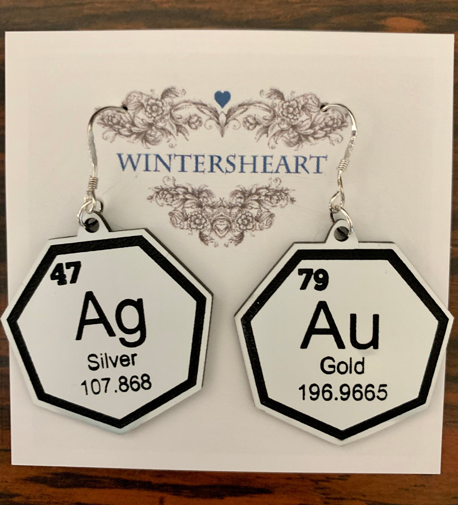 Gold & Silver periodic table earrings