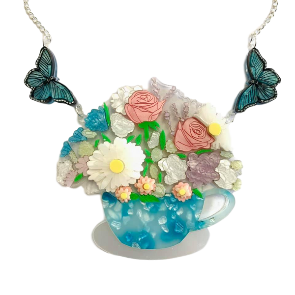 Blue Tea cup and Butterfly - Necklace