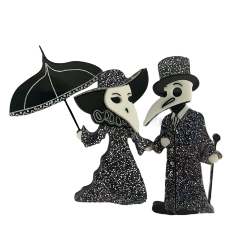 Glitter- Plague Doctor Couple - Brooches