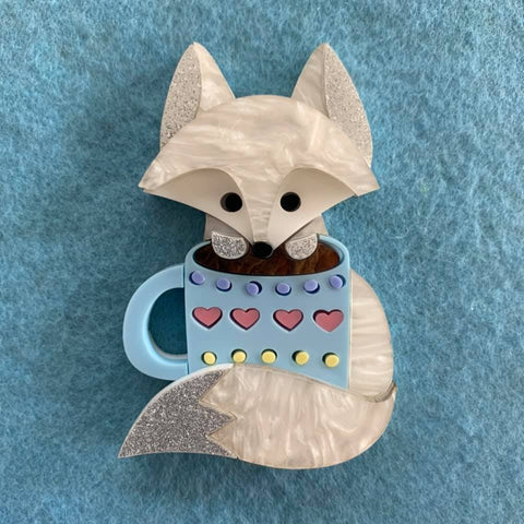 Coffee Time Arctic Fox -Brooch