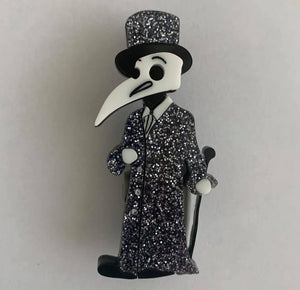 Glitter - Elegant male plague doctor - Brooch