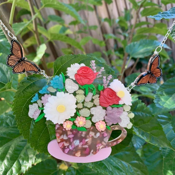 Pink Tea cup and Butterfly - Necklace