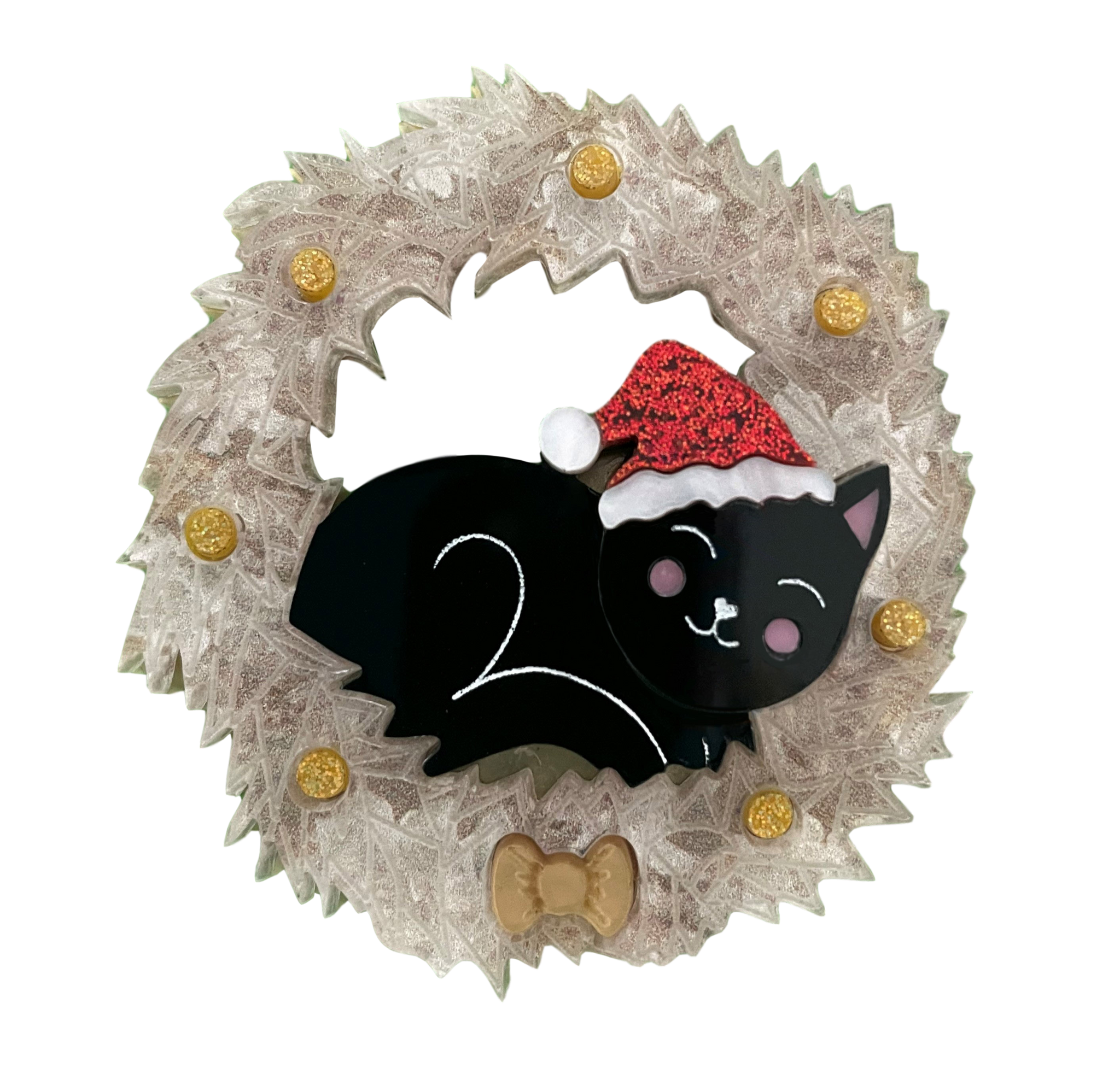 Felicity the Christmas black kitty - Brooch
