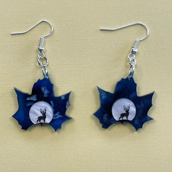 Midnight Deer Leaf 🍁- Earrings