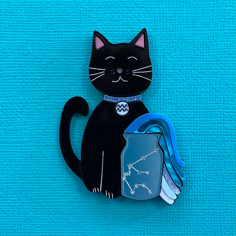 Aquarius Black Kitty - Brooch - made to order