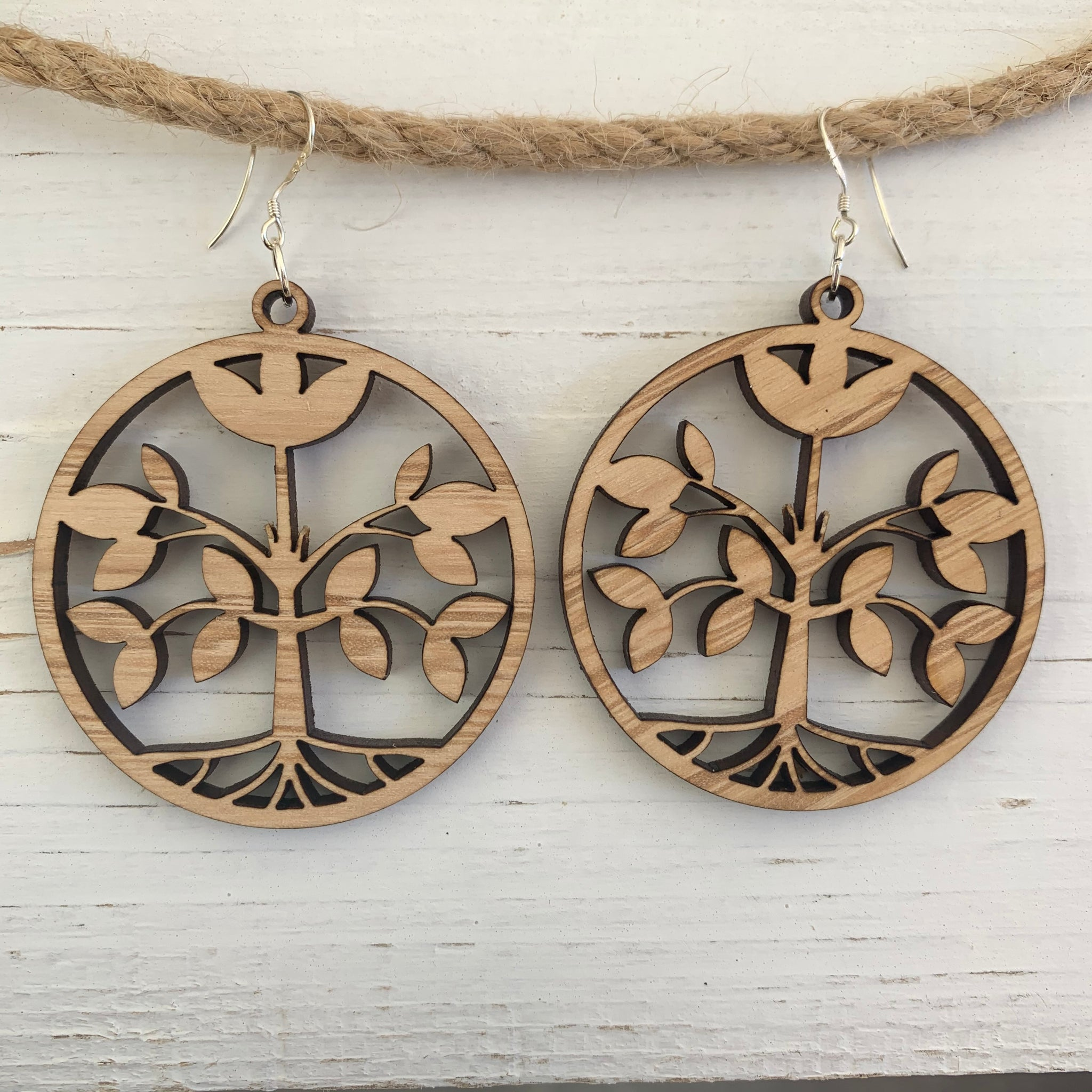 Cherry solid large circle spring tree earrings