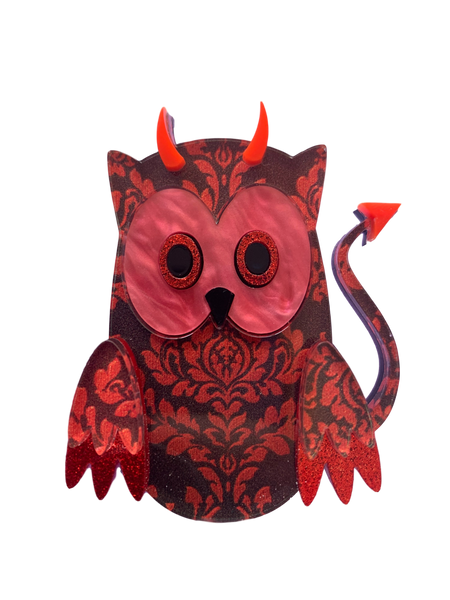 Scarlett the demon owl - Brooch