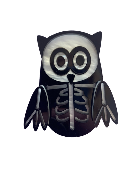 Bones the skeleton owl - Brooch
