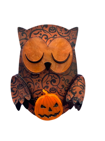 Amber the pumpkin owl - Brooch