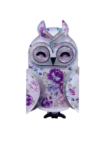 Lavender the long eared owl  - Brooch