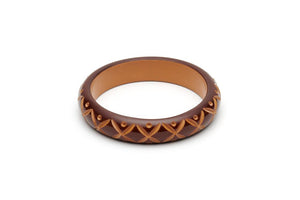 Midi Walnut Carved Bangle