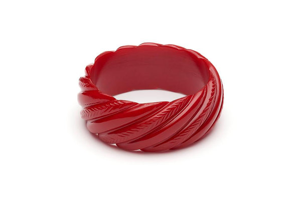 Wide Red Heavy Carve Fakelite Bangle
