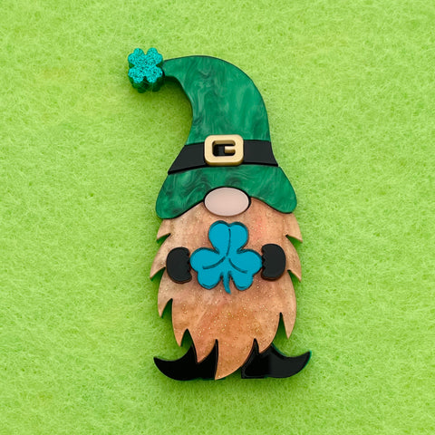 St Patrick's Day Gnome  2021 - Brooch - Made to order