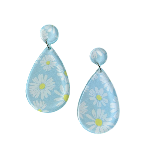 Snowy daisy pattern - earrings