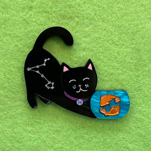 Pisces Black Kitty - Brooch - made to order