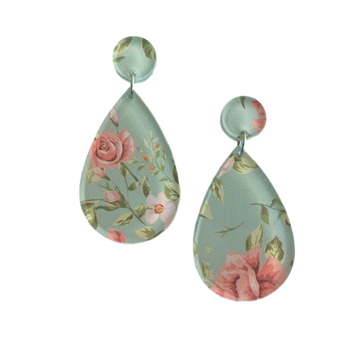 Minty flowers pattern - earrings
