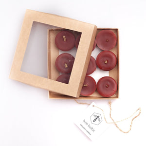 Red Beeswax Tea Lights by Bee Baltic