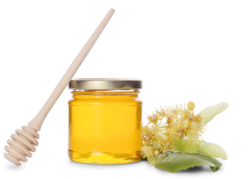 A honey jar with a linden flower on the right and a honey dipper on the left