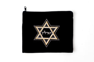 Tefillin/Tallit Bag Star of David Navy Velvet
