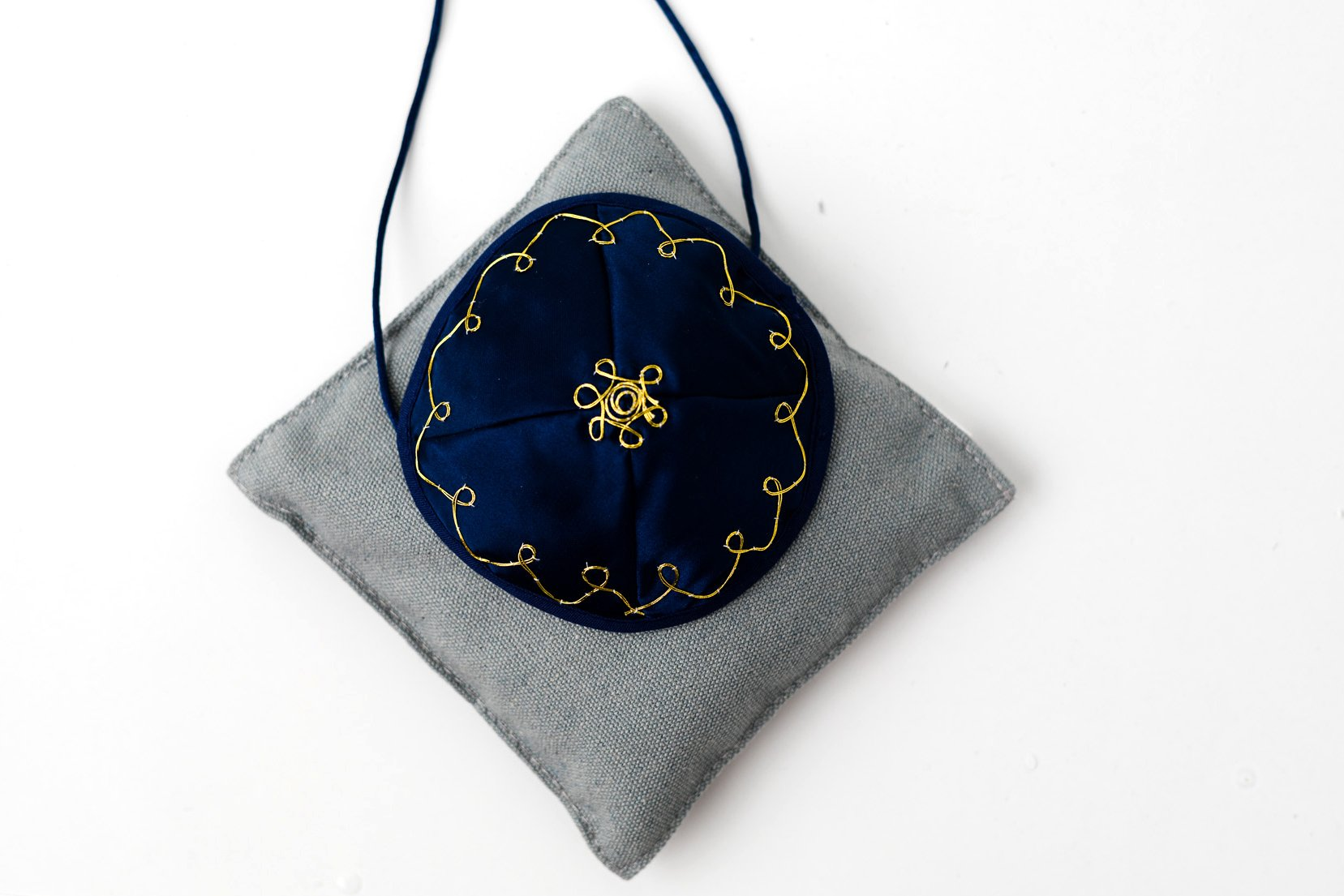 Bris Kippah Navy Satin with Gold Accent