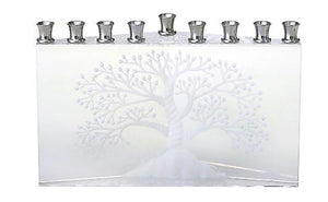 "Crystal Etched ""Etz Chaim"" Tree of Life Menorah"