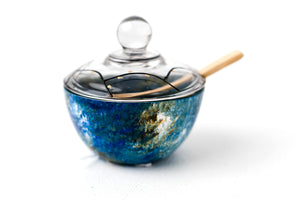 Charoses Bowl- Painted glass in shades of ocean blue