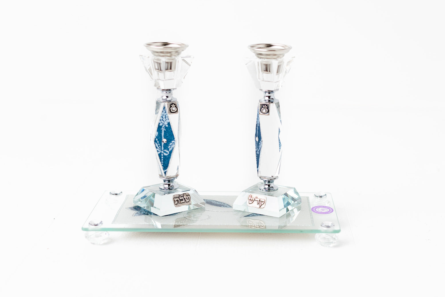 Lily Art Crystal Blue Accent Candlesticks with Floral Tray