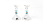 Load image into Gallery viewer, Short Crystal Candlesticks with Shades of Blue and Floral Tray