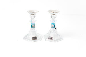 Short Crystal Candlesticks with Shades of Blue and Floral Tray