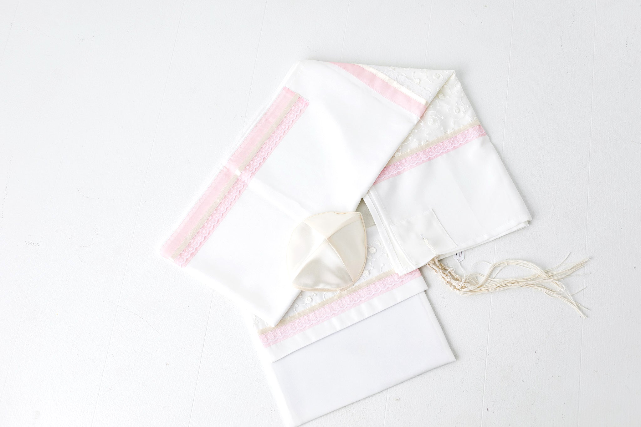 Tallit- Delicate pearl tallit with soft pink, delicate floral embroidery and lace