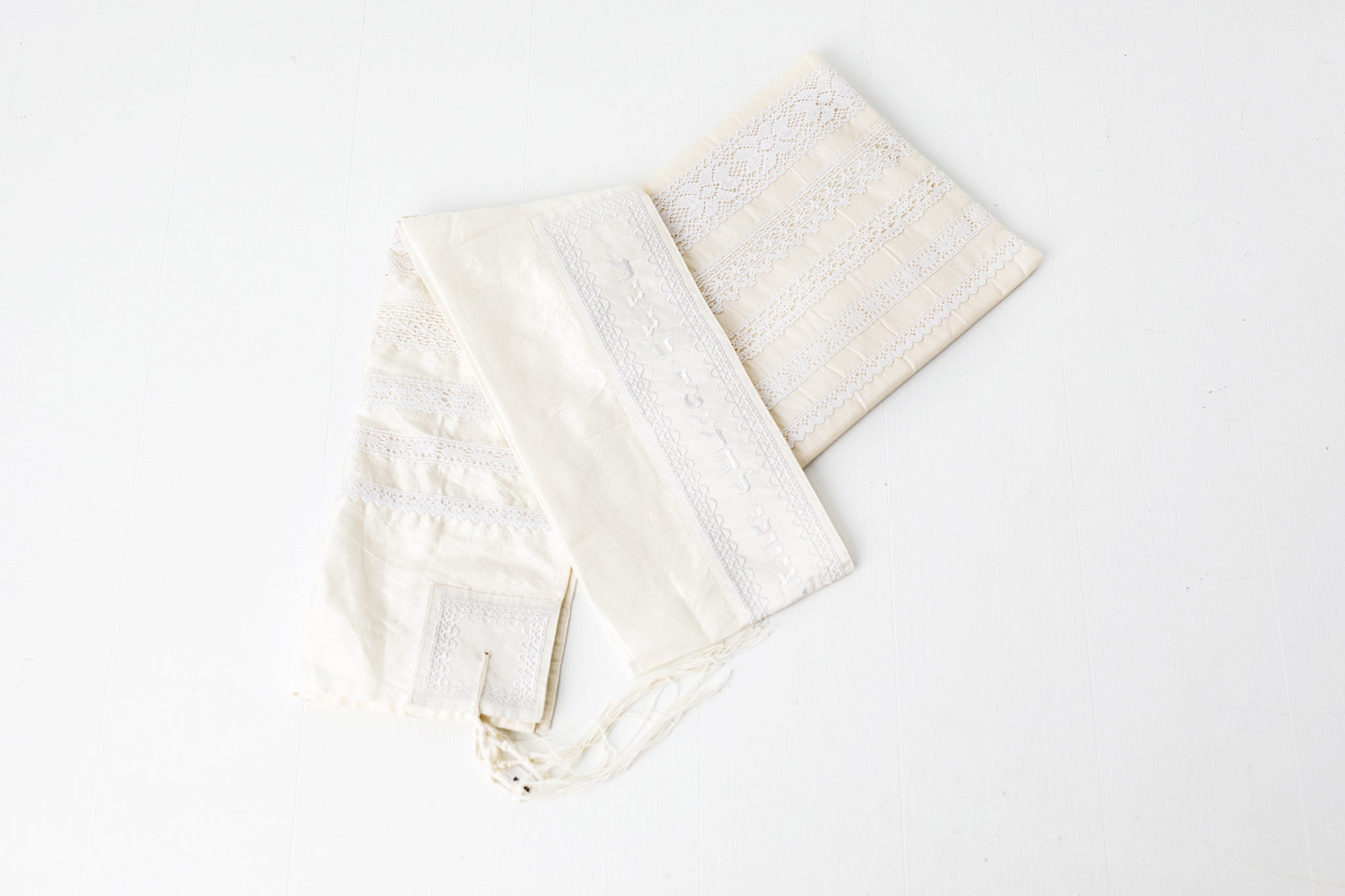 Tallit- Soft ivory with beautiful lace embroidery