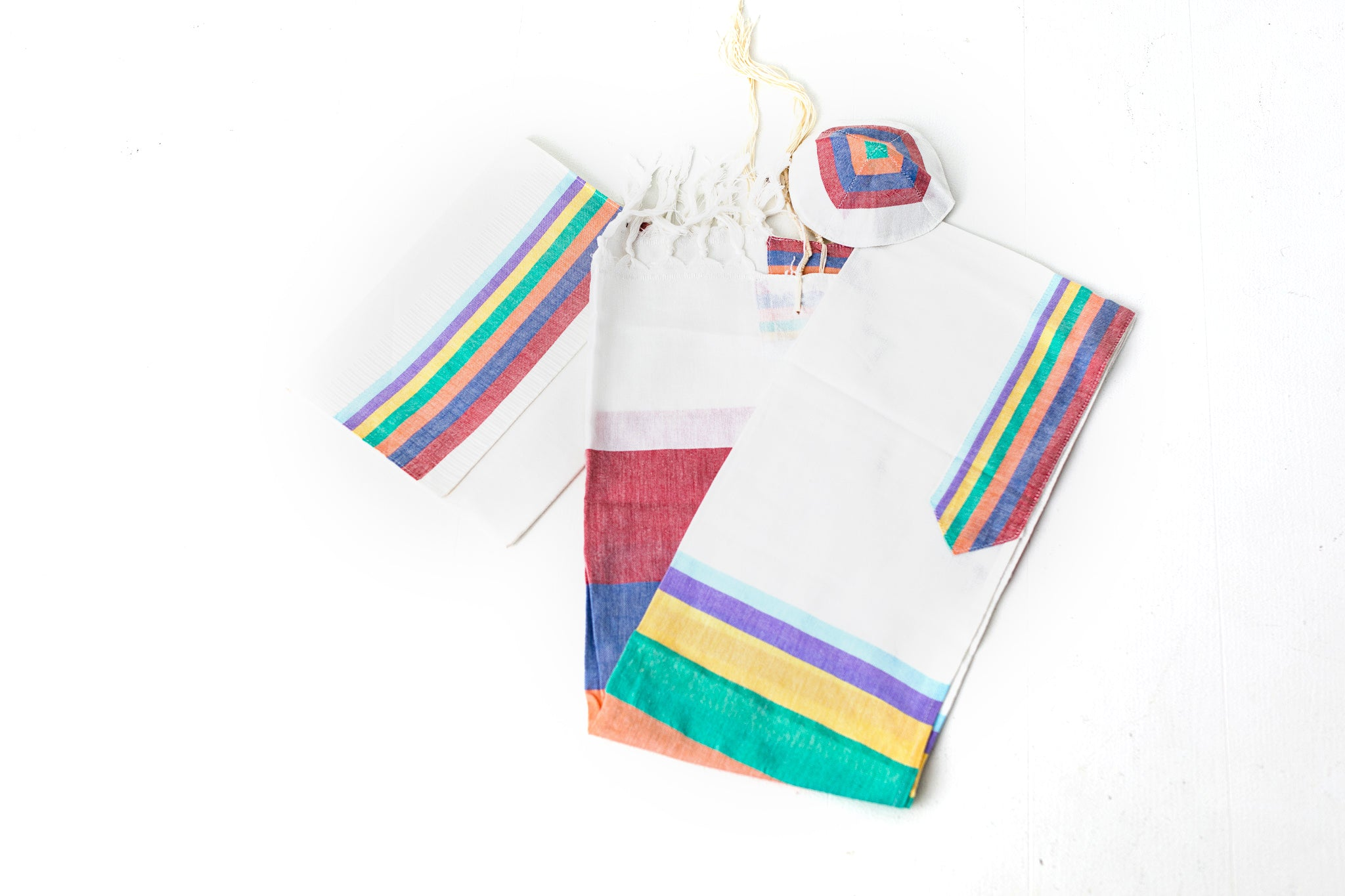 Tallit- White tallit set with multicolored denim stripes