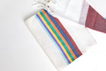 Load image into Gallery viewer, Tallit- White tallit set with multicolored denim stripes