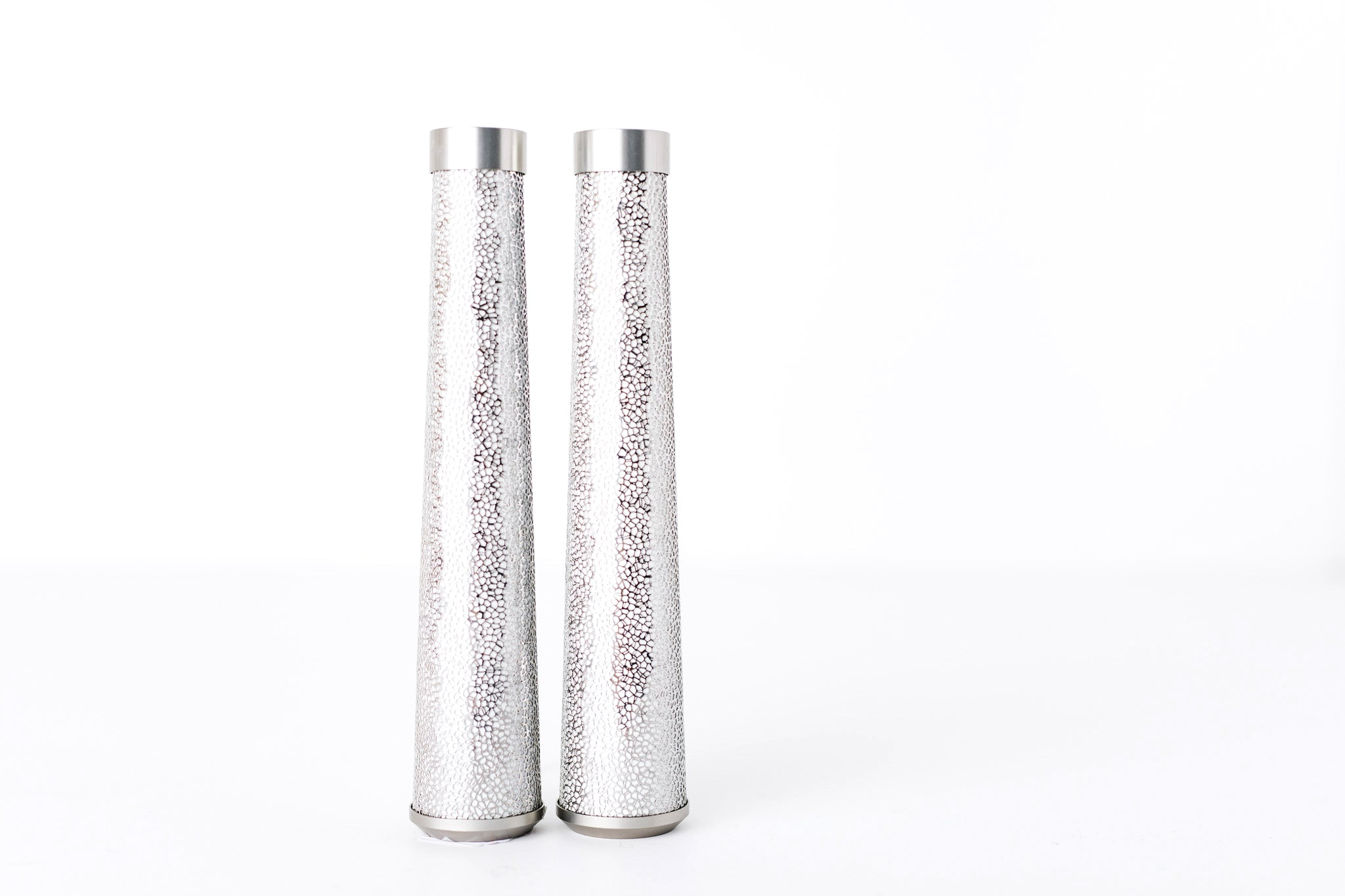 Contemporary Lasercut Stainless Steel and Glass Candlesticks