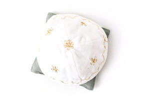 White Velvet Kippah with Gold Embroidery