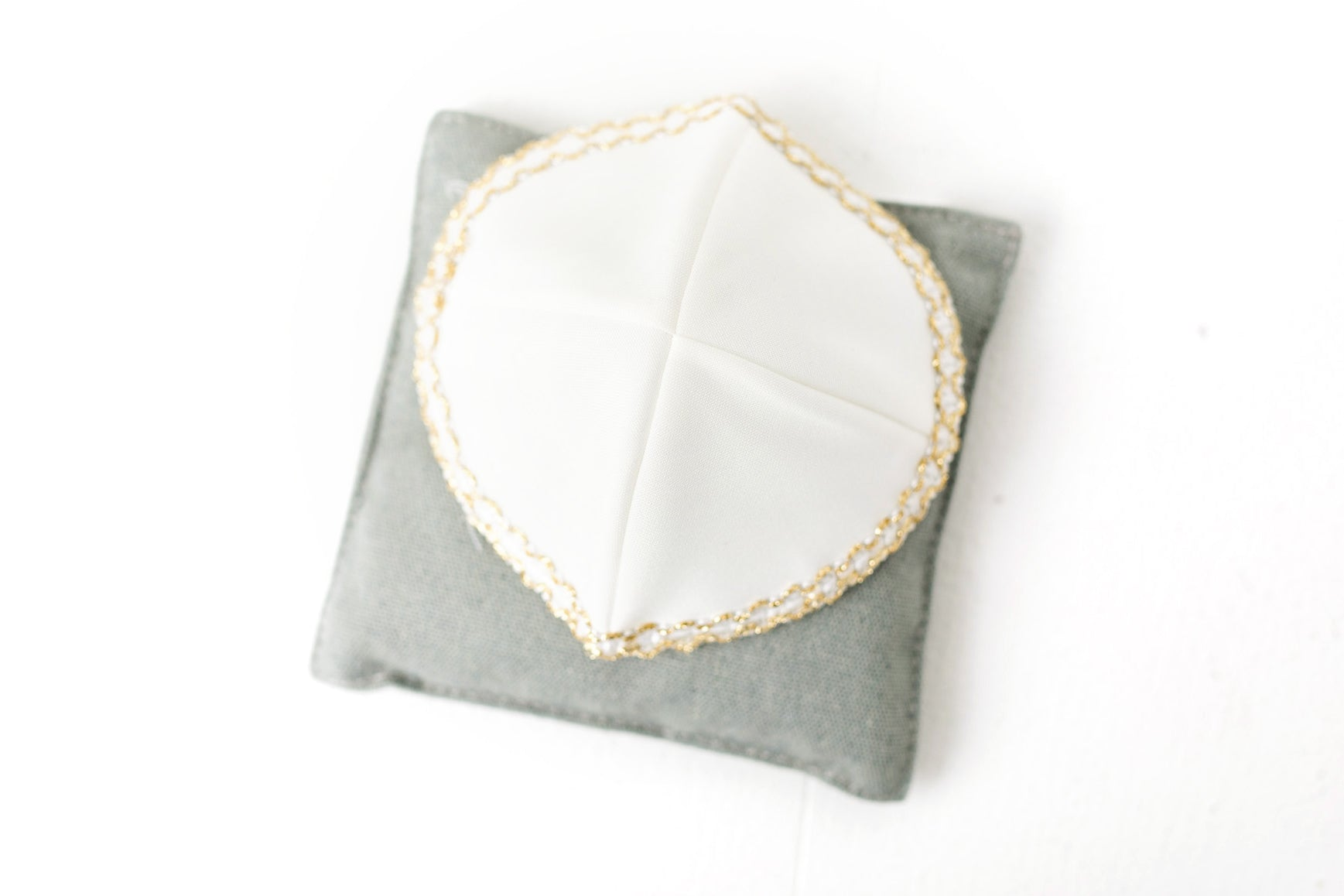 Kippah White Cotton with Shiny Gold Trim-SM