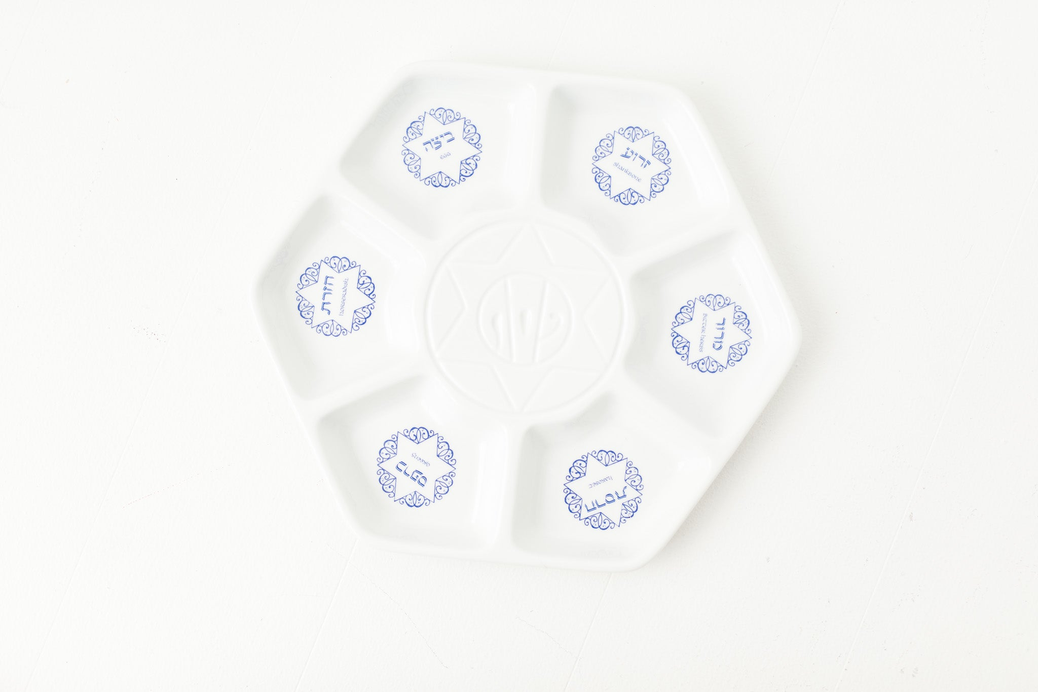 White Ceramic Seder Plate with Blue Accents