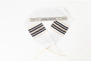 Tallit- black woven stripes with gold trim